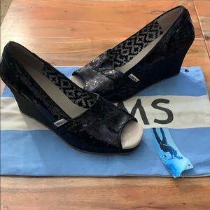 TOMS Black Sequin Wedge Shoes